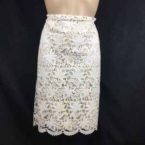 Ann Taylor Ivory Lace Skirt 8
